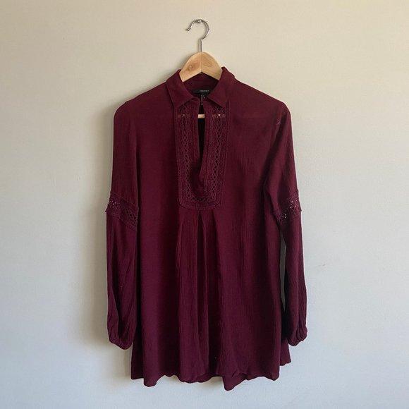 Forever 21 Burgundy Crochet Mini Dress